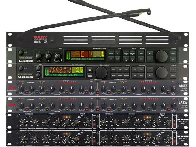 FX Rack met 1x TC M-one XL, 1x TC D-Two, 2 x DBX 166XL, 2 x Drawmer DS201