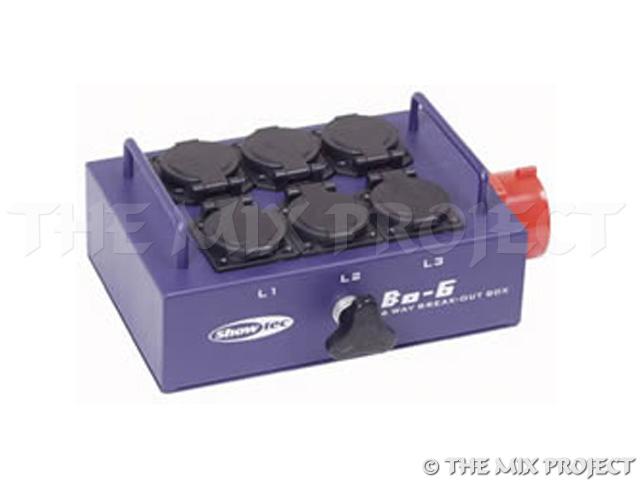 16A CEE Breakout box naar 6 x schuko